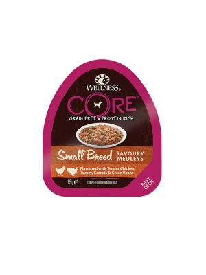 Wellness CORE Dog - Small Breed Medleys - con Pollo Tenero Tacchino e Verdure - 85 gr